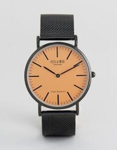 Часы с оранжевым циферблатом и черным сетчатым ремешком Reclaimed Vintage - Черный