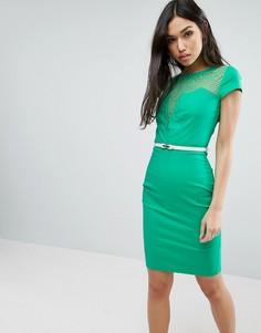 Платье с короткими рукавами и кружевными вставками Paper Dolls - Зеленый