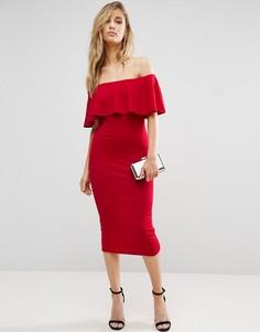 Платье миди с широким вырезом и оборкой Club L - Красный