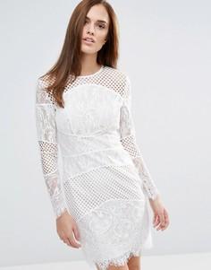 Кружевное облегающее платье мини со вставками Forever Unique - Белый