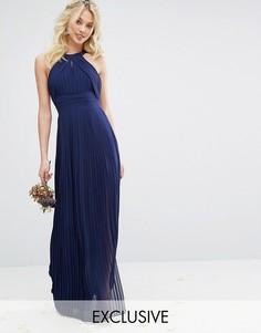 Плиссированное платье макси TFNC WEDDING - Темно-синий