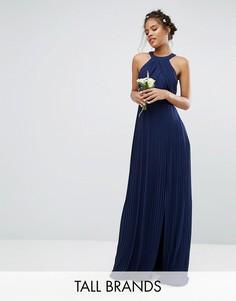 Плиссированное платье макси TFNC Tall Wedding - Темно-синий