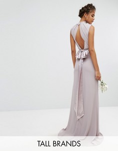 Платье макси с высокой горловиной и бантом TFNC Tall Wedding - Серый
