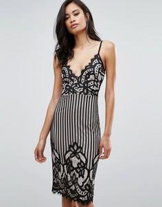 Платье миди на бретельках с кружевом Parisian - Черный