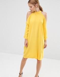 Oversize-платье миди с вырезами на плечах Liquorish - Желтый