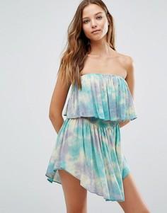 Пляжное платье с широким вырезом и принтом тай-дай Surf Gypsy - Мульти