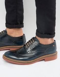 Блестящие кожаные броги Base London Woburn - Темно-синий
