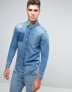 Узкая джинсовая рубашка с рваной отделкой Calvin Klein Jeans - Синий