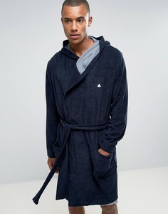 Махровый халат с логотипом ASOS - Темно-синий