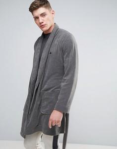 Махровый халат с логотипом ASOS - Серый