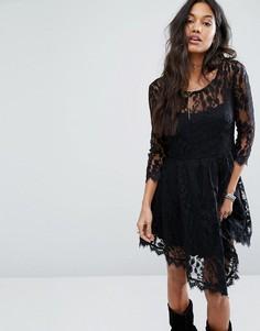 Кружевное платье с цветочным принтом Free People - Черный