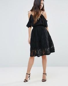 Кружевная юбка миди Minimum - Черный