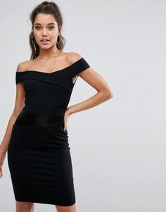 Платье с открытыми плечами и атласной вставкой Michelle Keegan Loves Lipsy - Черный