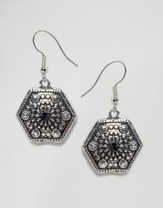 Серьги в винтажном стиле с камнем DesignB - Золотой