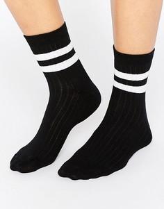 Носки в рубчик с 2 полосками ASOS - Черный