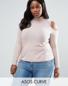 Топ в рубчик с вырезами на плечах и высокой горловиной ASOS CURVE - Розовый