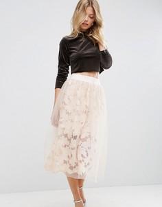 Кружевная юбка для выпускного ASOS - Розовый