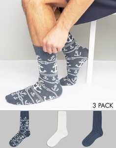 3 пары толстых носков с принтом якорей ASOS - Синий