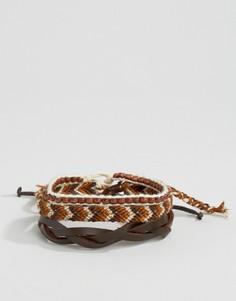 Набор браслетов черного и коричневого цвета Icon Brand - Мульти