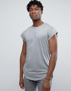 Длинная футболка с асимметричным краем и короткими рукавами Only & Sons - Серый