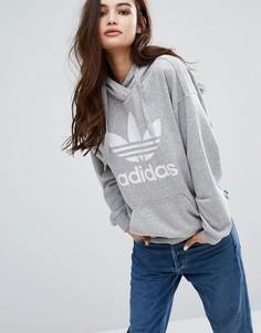 Серое худи с трилистником adidas Originals - Серый