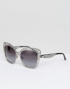 Серебристые солнцезащитные очки кошачий глаз с резной оправой Dolce & Gabbana - Серебряный