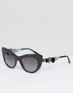 Солнцезащитные очки кошачий глаз Dolce & Gabbana - Черный
