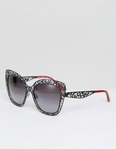 Черные солнцезащитные очки кошачий глаз с резной оправой Dolce & Gabbana - Черный