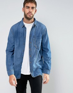Nudie Jeans Co Calle Skewed Pocket Denim Shirt - Синий