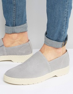 Замшевые туфли-слипоны с перфорацией Dr Martens Plano - Серый