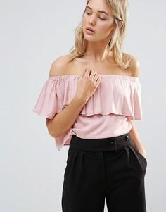 Топ с открытыми плечами и оборками Neon Rose - Розовый