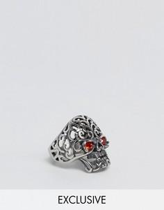 Кольцо с черепом со стеклянными глазами Reclaimed Vintage - Серебряный
