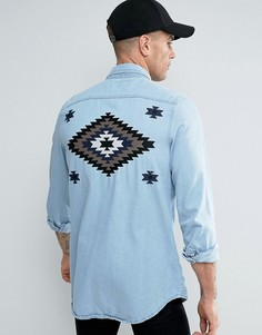 Liquor & Poker Denim Shirt Embroidered Taping - Синий