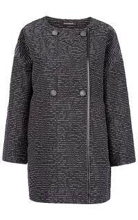 Женское пальто с отделкой экокожей Pompa