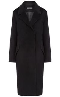 Полушерстяное черное пальто La Reine Blanche