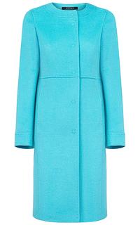 Голубое шерстяное пальто Pompa