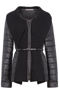 Комбинированная утепленная куртка с ремнем из экокожи Elema