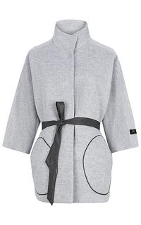 Шерстяное пальто с кожаным поясом La Reine Blanche
