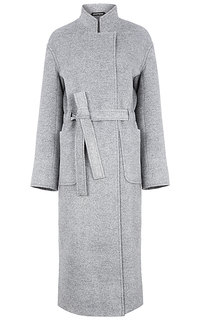 Длинное шерстяное пальто с поясом Pompa