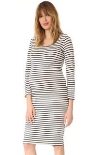 Платье для беременных в полоску с длинными рукавами Monrow