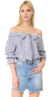 Полосатая блуза с открытыми плечами J.O.A.