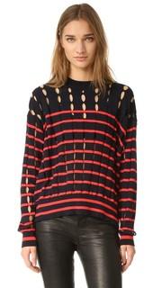 Пуловер с округлым вырезом и разрезами T by Alexander Wang