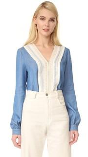 Блуза из струящейся ткани шамбре с V-образным вырезом Jonathan Simkhai