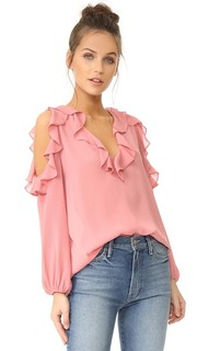 Блуза Gia с открытыми плечами и оборками Alice + Olivia