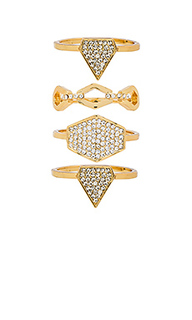 Pave shield ring set - Luv AJ