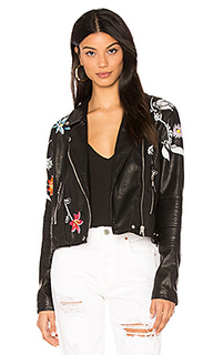 Embroidered faux leather jacket - BLANKNYC [Blanknyc]