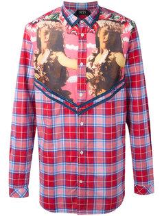 клетчатая рубашка с принтом женщин Nº21