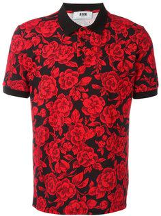 футболка-поло с принтом роз MSGM