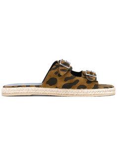 сандалии с леопардовым принтом   Saint Laurent