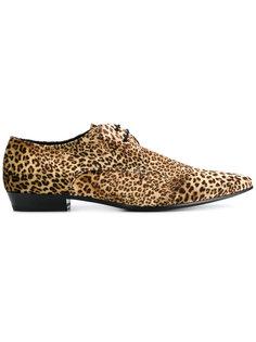 туфли дерби с леопардовым принтом   Saint Laurent